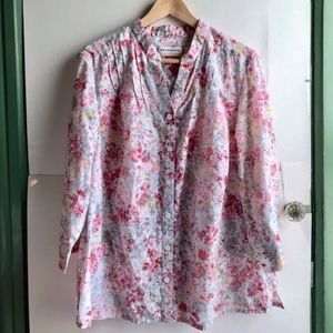 ALFRED DUNNER White Pink Floral 3/4 Button Down 2X